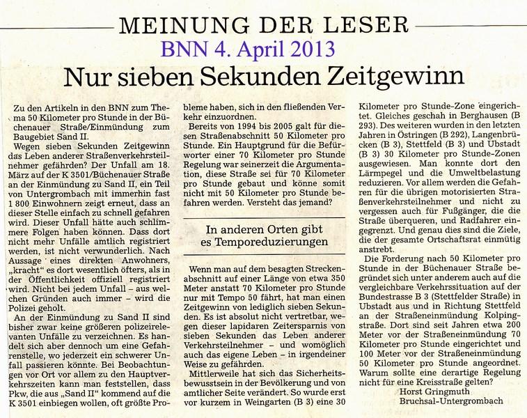 httpwwwspd bruchsaldemeldungenleserbrief horst gringmuth zum thema 50 km heinmuendung k 3501 sand ii - Leserbriefe Beispiele